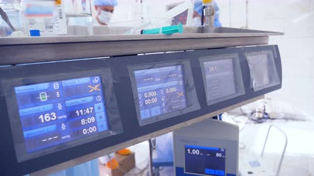physical pressure : Close up of medical monitor installed in an operation room Stock Footage
