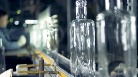 scrutiny : Factory worker checks bottles quality.
