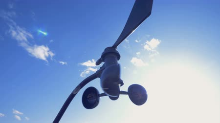 meteorological : An anemometer turns, working outdoors.