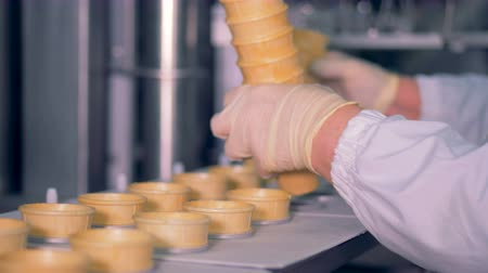 unfilled : A pile of waffle cups is getting inserted into the conveyor belt by a factory worker