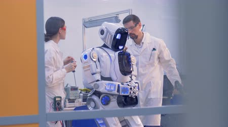 bot : Lab worker is giving directions for a robot implemented by a female engineer with a computer Stock Footage