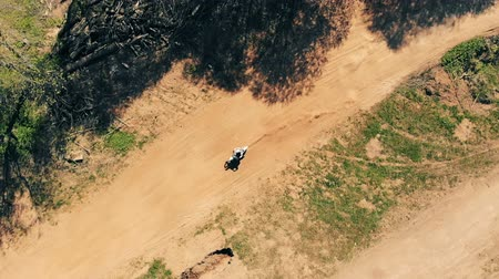 freeride : Male biker rides on a dusty track, top view.
