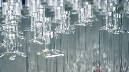 unfilled : Static view of multiple glass bottles standing closely to each other
