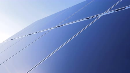 producing energy : External side of an open-air solar panel . Solar energy concept. Stock Footage