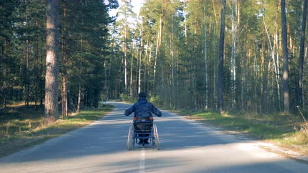 challenged : Back view of a forest road with a disabled man moving along it in his wheelchair Stock Footage
