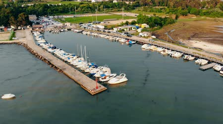 speedboats : Top view of docks containing a lot of yachts and boats