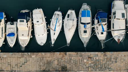 speedboats : Docks with a line of yachts moored to it in a top view