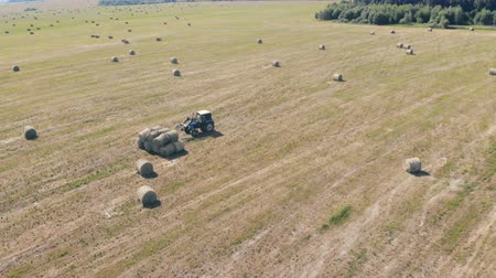 hay pile : One tractor works on a field, top view.