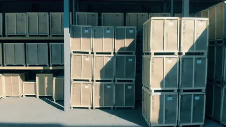 csomagolt : A big storage with boxes, close up.