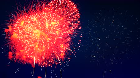 firecrackers : Blue fireworks in the sky. Stock Footage