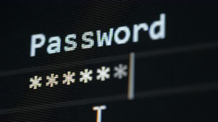 cursore : Hacker ottiene l'accesso, digitando una password, close up.