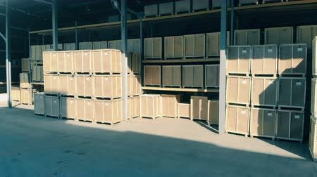 equipamento : Wooden boxes in a storehouse, close up.