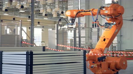 automatyka : Modern factory. Robot arm packing products.