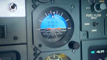 aircraft cabin : Close up of an attitude indicator of an airplane Stock Footage