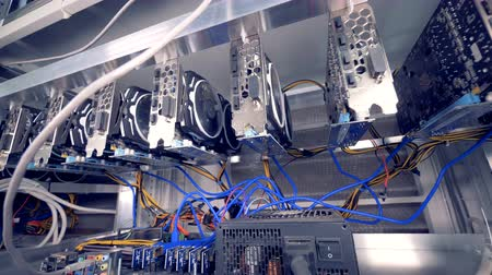 gpu : Room Full Of Servers Racks with GPU for bitcoin mining. Stock Footage
