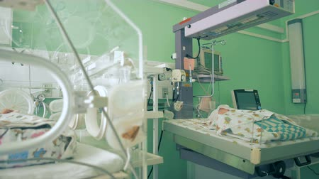 intensive care unit : Little babies are in incubator in a hospital room, close up.