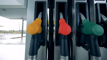filling station : Fuel nose units, close up. Pumps at unbranded gas station. Stock Footage