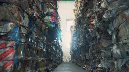 usado : Trash stacked at a dump, close up. Stock Footage