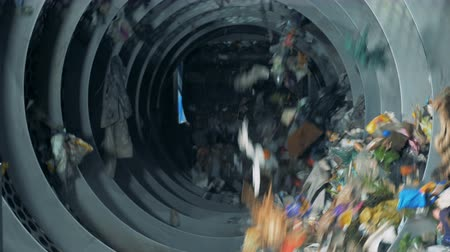 reciclado : Sorting garbage equipment working at a recycling plant. 4K. Stock Footage