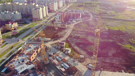 blocks of flats : Construction plant with cranes, aerial view.
