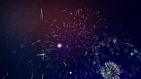 comemoração : New year firework display. Beautiful fireworks background. Stock Footage