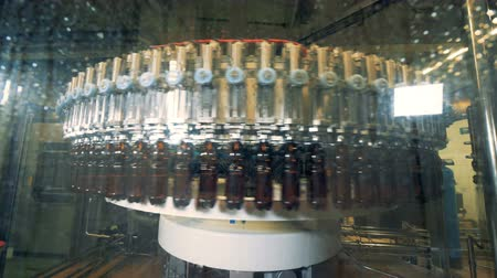 pompki : Factory machine fills bottles with beer, close up. Wideo