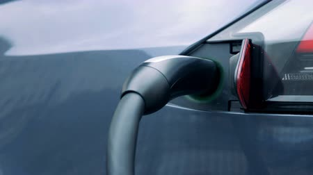recharging : Electric plug in a car socket, close up. Stock Footage