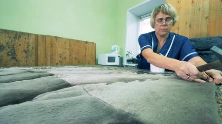 cruelty : Woman nailing fur fabric, close up. Stock Footage