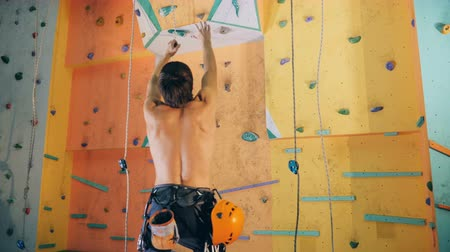 statečný : Person tries to reach rocks on a climbing wall, close up.