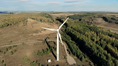 watt : Electric windmills generating power. Aerial view from drone.