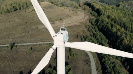 watt : Big wind tower, windmill in work. Renewable energy power plant concept. Stok Video