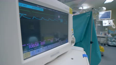 vital signs : Functioning medical monitor showing vital signs during a surgery