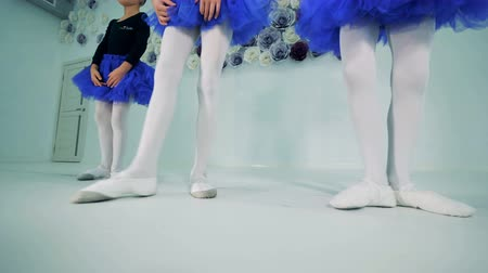 scarpe ginnastica : Little ballerinas are pointing toes wearing ballet shoes
