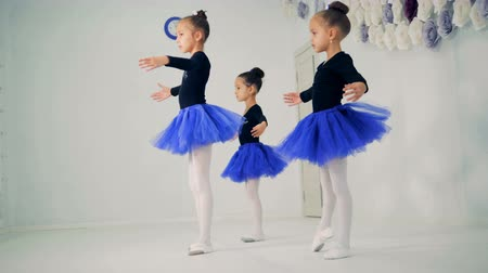 taniec towarzyski : Three little girls are practicing ballet movements