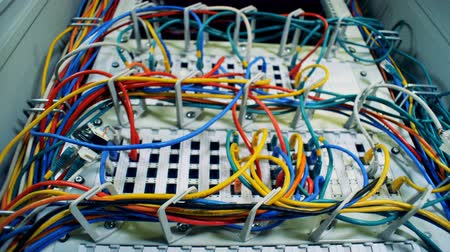 кабель : Close up of multicolour wires plugged into the servers