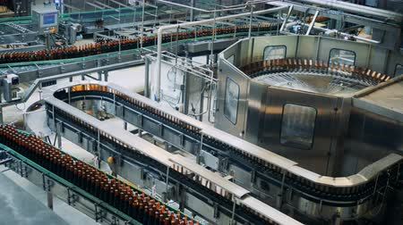 konzervipar : Brewery plant with transporting equipment and glassy bottles moving along it