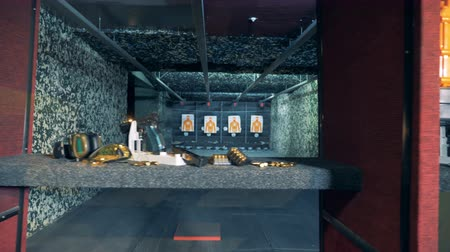 pneumatic : Training stands with shooting supplies in a firing room