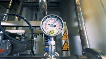 fermenting : Pressure gauge on a pipeline. Stock Footage