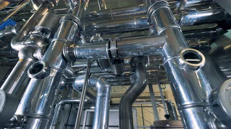 wort : Pipes with gauges at a brewery, close up. Stock Footage