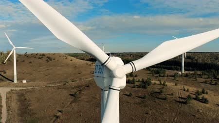 保護された : Metal blades of a wind generator. Wind power technology concept. 動画素材