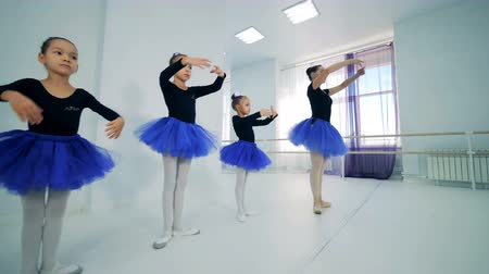 taniec towarzyski : Little ballet dancers during a training, close up. Wideo