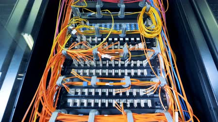 linked : Set of data servers linked by multicolour wires