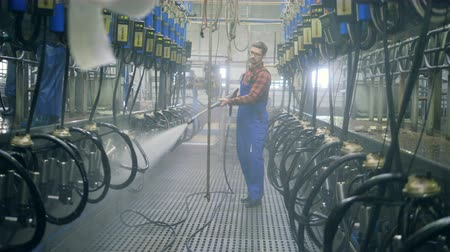 навес : Man sprays water, washing equipment at a cowshed, close up. Стоковые видеозаписи