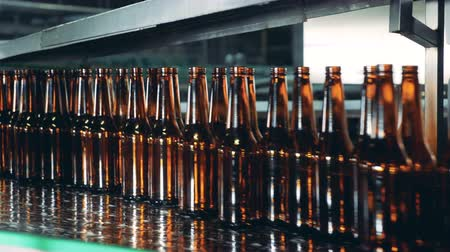 inventário : Glass bottles are moving fast along the transporter