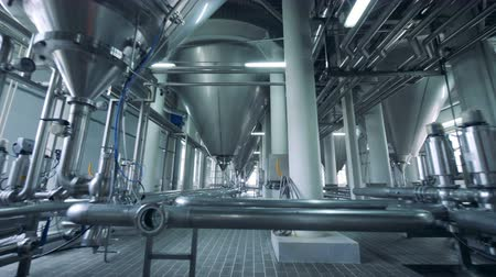 distillation : Metal tanks at a brewery, close up. Stock Footage