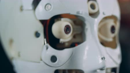 робот : Moving parts of a robots face, close up.