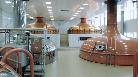 dourado : Fermenting kettles in the distillery unit Vídeos