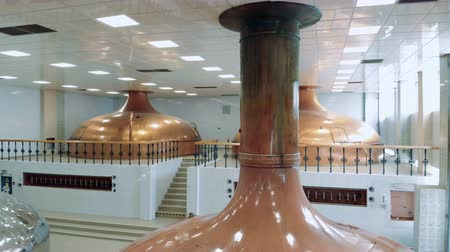dourado : Interior of the brewery with bronze tanks in it
