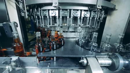 бурбон : Many bottles filled with alcohol on a plant machine. Whiskey, scotch, bourbon production.