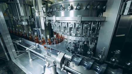automatický : Factory machine automatically fills glass bottles with alcohol. Production of whiskey, Scotch, cognac.